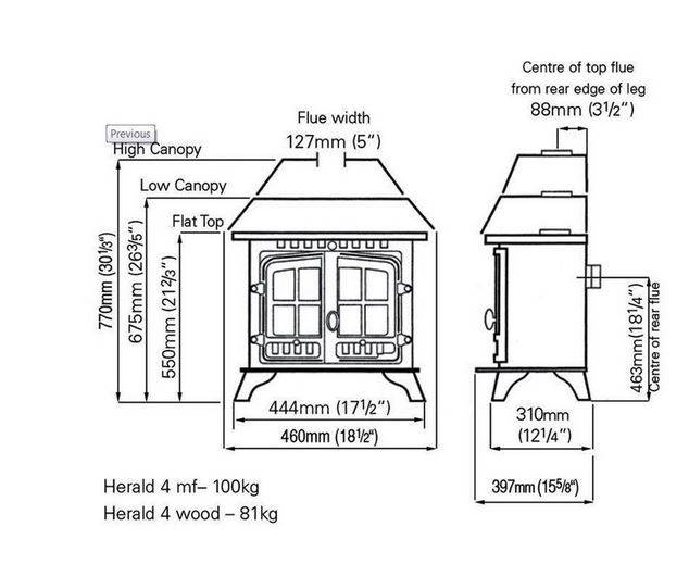 Hunter Herald 4 Dimensions - Stove Spares Ltd