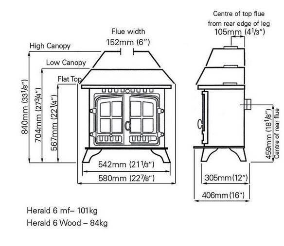 Hunter Herald 6 Dimensions - Stove Spares Ltd