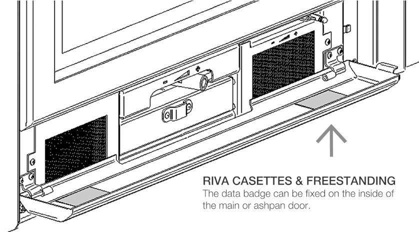 Stovax Riva Cassette Data plate position